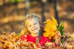 Happy little girl plays with autumn leaves Stock Image