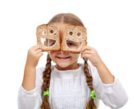 Happy little girl with plenty of food royalty free stock photo