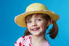 Happy little girl portrait with a hat Royalty Free Stock Photos