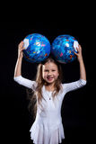Happy little girl posing with gymnastic balls. Close-up Royalty Free Stock Photos