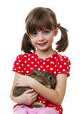 Happy little girl with rabbit Royalty Free Stock Image