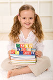 Happy little girl ready to go back to school Royalty Free Stock Images