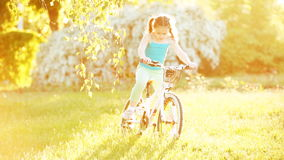 Happy little girl riding a bicycle on the meadow in summer sunshiny day. stock video