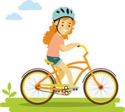 Happy little girl riding bikes isolated on white Royalty Free Stock Images