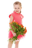 Happy little girl with rose in red clothes Stock Photo