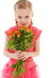 Happy little girl with rose in red clothes Stock Image