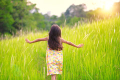 Happy little girl running on meadow Royalty Free Stock Photos