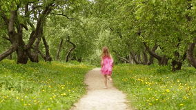 Happy little girl running in summer park stock video footage