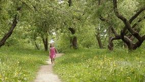 Happy little girl running in summer park stock footage