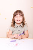 Happy little girl at school royalty free stock image