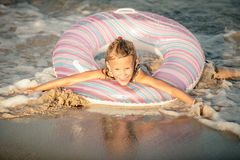 Happy little girl on the sea Royalty Free Stock Photography