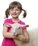 Happy little girl with a sheep Royalty Free Stock Photos