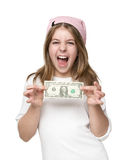 Happy little girl showing dollar bill Stock Images