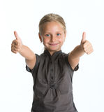 Happy little girl  showing OK sign Stock Images