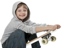 Happy little girl with skateboard Royalty Free Stock Photography