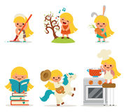 Happy Little Girl Smiling Child Icon Set Concept Isolated Flat Design Vector Illustration Stock Photography