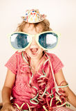 Happy little girl smiling with glasses Stock Photography