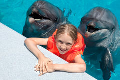 Happy Little Girl Smiling with two Dolphins in Swimming Pool. Happy Little Girl with two Dolphins in Swimming Pool in the Bright Summer Day Stock Photo