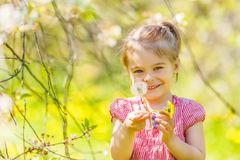 Happy little girl in spring sunny park Stock Photos