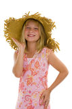 Happy little girl with summer hat Royalty Free Stock Image