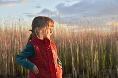 Happy little girl on  sunset Stock Photos