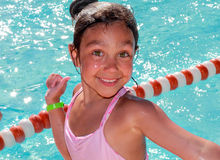 Happy little girl after swimming Royalty Free Stock Photo