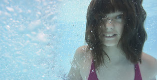 A happy little girl swimming in a pool Stock Images