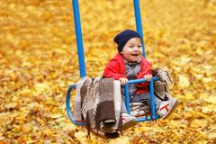 Happy little girl on swing. In the autumn park stock image