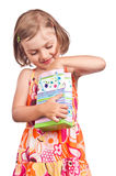 Happy little girl Christmas present shopping Royalty Free Stock Photo