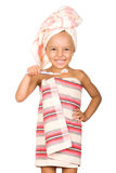 Happy little girl with toothbrush Royalty Free Stock Image