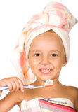 Happy little girl with toothbrush Royalty Free Stock Photo