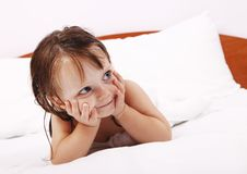Happy little girl in towel after bath Royalty Free Stock Photography
