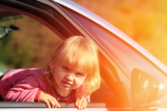 Happy little girl travel by car Royalty Free Stock Photography