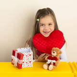 Happy Little Girl with  Valentine Day Presents Stock Photography