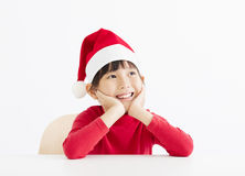 Happy little girl waiting and thinking christmas Stock Photo