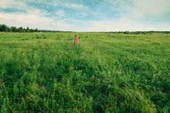 Happy little girl walking on summer meadow Stock Image
