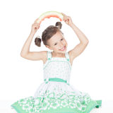 Happy little girl with watermelon. Beautiful little girl eating watermelon over white background Stock Photography