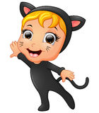 Happy little girl wearing cat costume Royalty Free Stock Images