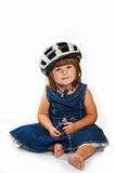 Happy little girl wearing helmet Royalty Free Stock Photography