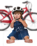 Happy little girl wearing helmet Stock Photography
