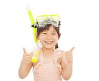 Happy  little girl wearing swimsuit with thumb up Royalty Free Stock Photography