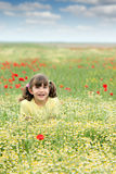 Happy little girl on wildflowers meadow Stock Photos