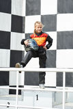 Happy little girl is winner on karting Stock Photography