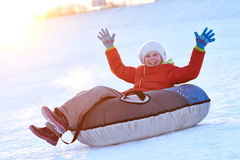 Happy little girl in winter Royalty Free Stock Photography
