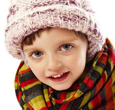 Happy little girl winter portait Royalty Free Stock Photo