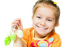 Happy Little Girl With Easter Eggs. Royalty Free Stock Images
