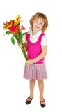 Happy Little Girl With Flowers. Stock Photo