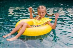 Free Happy Little Girl With Inflatable Rubber Circle Having Fun In Swimming Pool Royalty Free Stock Photos - 156955968