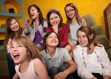 Happy Little Girls. Group of seven happy little girls laugh out loud Stock Photography