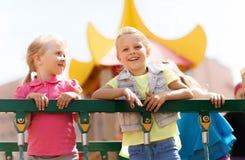 Happy little girls on children playground Stock Photography